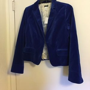 J Crew Blue Velvet Blazer Size 14